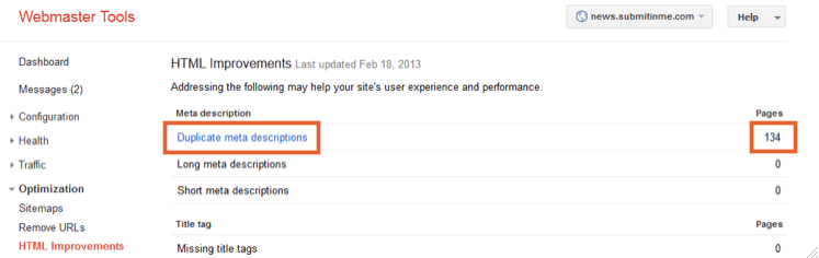 Google Webmaster Tools shows duplicate meta descriptions